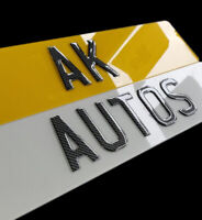 Pair Of Road Legal 3D Gel CARBON Raised Domed Gloss Black Number Plates