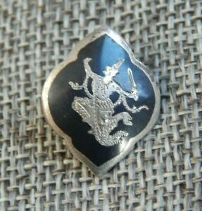 """Antique Vtg Enamel Sterling Silver Button Siam Back Marked~Aprx:7/8""""~#1002-C"""