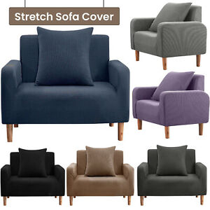 Sofa Cover Elastic Fabric Sofa Seat Cover Stretch Slipcover Easy Fit 1 Seater