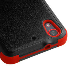 For HTC Desire 626 626S - HARD & SOFT RUBBER HYBRID CASE COVER RED BLACK ARMOR
