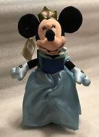 "Vintage Disney Store Cinderella Minnie Mouse 10"" Bean Bag Plush"