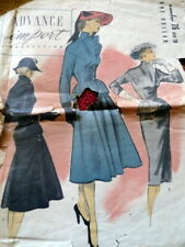 RARE VTG 1950s SUIT DRESS ADVANCE IMPORT ADAPATION Sewing Pattern 18/36