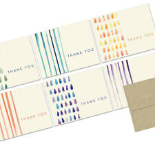 72 Thank You Note Cards - Painted Thank You  - Kraft Envs