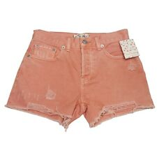 Free People Button Fly Cutoff Shorts Womens Size 24 Pink Mid Rise Festival Boho
