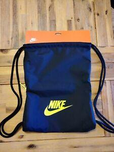 NIKE HERITAGE 2 GYMSACK BLACK/Yellow DRAWSTRING BAG BACKPACK GYM SACK BA5901 NEW