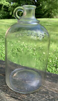 Vintage Whiskey Glass One Gallon Jug With Thumb Handle 1906 Owens Glass Company