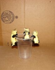 Vintage used Set of 3 Siamese Cats Celluloid Cup/Pot Hangers Figurines by LIP