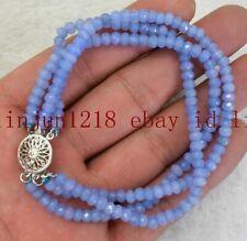 Abacus Gemstone Handmade Bracelet 7.5'' Aaa 3 Row 2x4mm Natural Blue Aquamarine