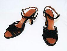 Vintage 50's LARKS Black Open Toe Strappy Sandals Heels Shoes Suede 6 1/2 M