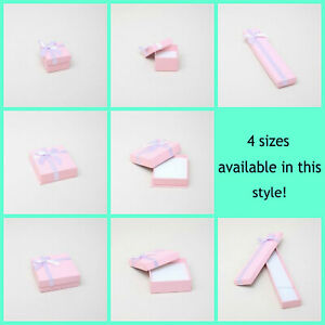 12 x Pack Pink Textured Gift Boxes with Lilac Bow - Jewellery/ Gifts / Favours