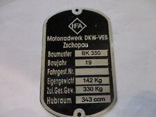 Nameplate IFA VEB Zschopau MZ BK 350 Vintage Car Motorcycle s25
