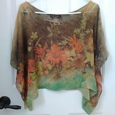 Fall Poncho Flowy Cape Autumn Tiger Lily No Tag One Size Body Central Lilly EUC