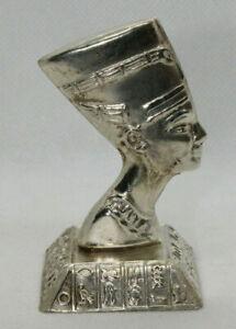 Egyptian Handmade Queen Nefertiti Statue Hallmark Stamped Sterling Silver 44 Gr