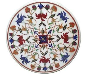 White Marble Coffee Table Top Inlay Patio Table with Multi Gemstones 18 Inches