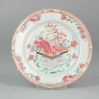 Antique 18C Yonzgheng Chinese Porcelain Famille Rose Plate Fencai Qing Period