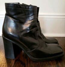 GIANNI BARBATO VINTAGE BLACK LEATHER ROUNDED SQUARE TOE CHUNKY HEEL BOOTS - 38.5