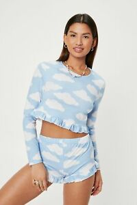 Nasty Gal BooHoo Baby Blue Cloud Print Jersey Ruffle Pyjama Short Set Medium
