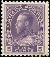 Mint NH Canada 5c 1922 F+ Scott #112 King George V Admiral Issue Stamp