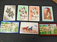 7 Single Vintage Swap Playing Cards Dogs in Pairs