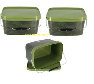 3 x Square 5 Litre Fishing Bait Bucket  / Spod / Boilie Groundbait Mix Buckets