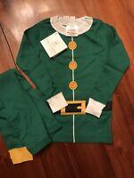 NWT Hanna Andersson Organic GREEN ELF HOLIDAY Long John Pajamas Size 6-7 120 cm