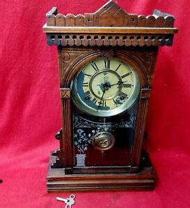 1890 Waterbury Walnut 8 Day Striking Original Condition Parlor Clock