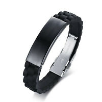 Personalised Men Black Emergency Alert Medical ID Bracelet Wristband Bangles