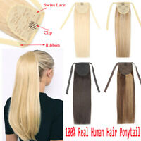 100% Real Remy Human Hair Clip in Ponytail Extensions Drawstring Straight Thick