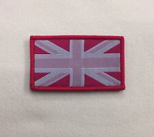 Union Jack Pink & White Badge TRF, Military, Army, Sleeve Patch, Hook Loop