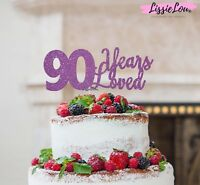 LissieLou 90 Years Loved Cake Topper 90th Birthday Glitter Card Made in the UK