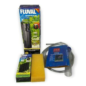 Lot Fluval 4 Plus Underwater Filter, Pads Gravel Vacuum 10 Watts Tested Working