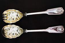 "WA Sheffield England 9"" Salad Spoon Fork Fruit Design Silver Plate Gold Bowls"