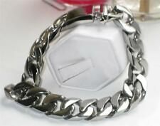 Mens silver bracelet stainless steel 8.5 inch 20mm wide chunky no tarnish 34