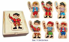 Fun Factory Wooden Dress Up Pirate Puzzle -18 Pieces in Box - Educational Fun!