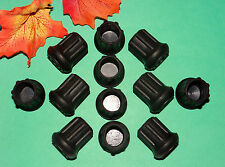 "(12) NEW 7/8"" BLACK RUBBER CANE TIPS FOR WALKERS, CRUTCHES, WALKING STICKS, ETC."