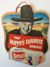 Hopalong Cassidy Bond Bread Double Sided Store Hanger Sign 1950
