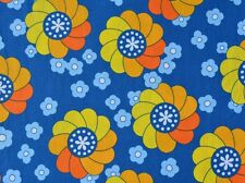 BLUE AND YELLOW RETRO FLOWERS FABRIC FQ NEW
