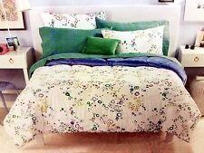 8 piece Queen bed set blue white green comforter shams sheets pillowcase pillow