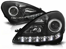 Black Headlights w/ daytime running lights LED DRL FOR Mercedes SLK R171 04-11