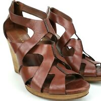 Cole Haan Women's Brown Leather Air Kimry Ot Wedge Platform Shoes Size 11 Sandal