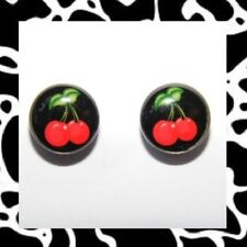 Red Cherry Stud Earrings Rockabilly Pinup Retro Punk Mod Kitsch 50's Cherries