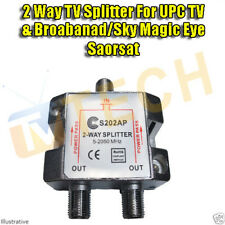 2 Way UPC TV Modem Saorsat Sky Magic Eye Splitter 5-2400 Mhz PowerPass