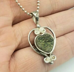 "Sterling Silver Sajen Heart Green Druzy Quartz Pendant on 17"" Ball Chain"