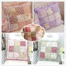 Cotton Floral Square Cushion Cover Quilted Patchwork Print Throw Bed Pillow Case