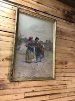 Original Antique Watercolor Painting - Signed A. Martin Rome - Gilt Frame