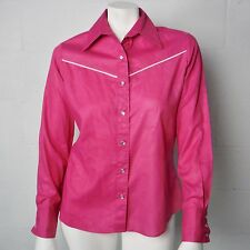 Ladies Vintage Wrangler Pink Pearl Snap Button Down Western Shirt Size 36 (M)