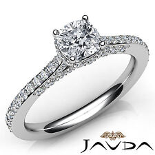 Cushion Diamond Pave Set Magnificent Engagement Ring GIA F VS1 Platinum 1.37Ct