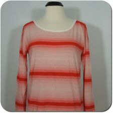 GAP Women's Striped Scoop Neck Ivory/Red Top size M