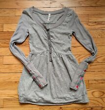 Free People Gray FLORAL EMBROIDERED CUFF Button Tunic Knit Top XS
