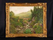 Ancienne huile / toile signée représentant un paysage de montagne Corse, Alpes ?